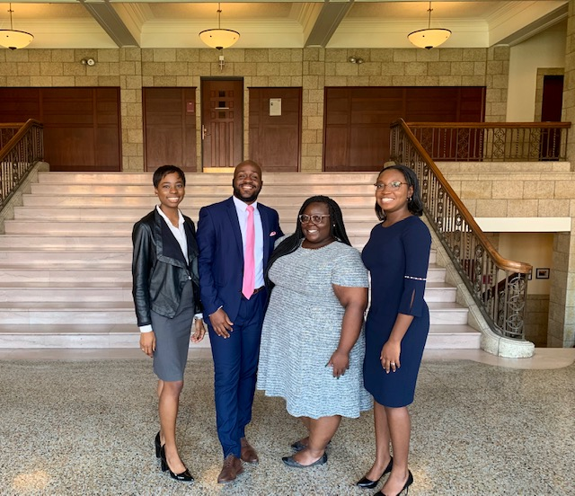 Kadeem Wolliaston, associate, (second from the left) served as a panelist at the Northeast Black Law Student Association Upstate Academic Retreat in October 2019