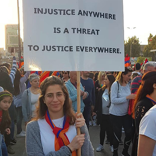 Natalie Hajinelian, legal secretary, celebrates and supports Armenian and Lebanese culture by using social media to become an activist for the people of Lebanon and Armenia